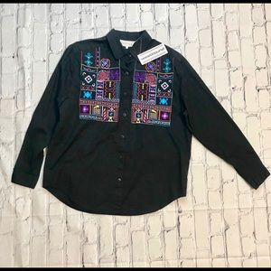 Vintage Southwestern Embroidered Button Up NOS S
